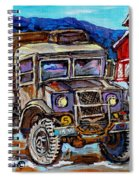 50's Dodge Truck Red Wood Barn Outdoor Hockey Rink  Art Canadian Winter Landscape Painting C Spandau Spiral Notebook