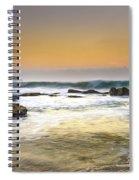 Hazy Dawn Seascape With Rocks Spiral Notebook