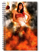 Asian Woman With Santa Hat  Spiral Notebook