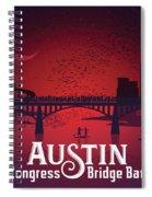 Austin's Congress Bridge Bats Illustration Art Prints Spiral Notebook
