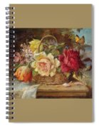 A Basket Of Flowers And A Butterfly Hans Zatzka Spiral Notebook