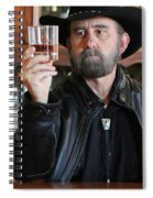 A Bearded Cowboy In Black Contemplates His Whiskey In A Saloon Spiral Notebook