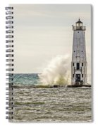 A Big Wave Crashes Into The Frankfort Light Spiral Notebook