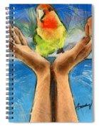 A Bird In Two Hands Spiral Notebook