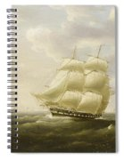 A British Frigate Bowling Down The Channel On A Breezy Day Past The Eddystone Lighthouse Spiral Notebook