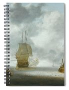A Calm Sea With A Man Of War And A Fishing Boat Spiral Notebook