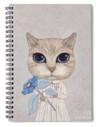 A Cat With A Blue Flower Spiral Notebook