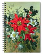 A Christmas Arrangement With Holly Mistletoe And Other Winter Flowers Spiral Notebook