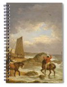 A Coastal Landscape Of The Isle Of Wight With Figures On Horse Back Near A Cottage Spiral Notebook