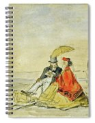 A Couple Seated And A Couple Walking On The Beach Spiral Notebook