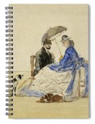 A Couple Seated On The Beach With Two Dogs Spiral Notebook