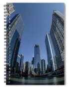 A Fisheye View Of The Chicago Skyline As You Appraoch Wolf Point Spiral Notebook