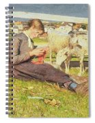A Girl Knitting Spiral Notebook