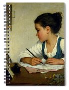 A Girl Writing. The Pet Goldfinch Spiral Notebook
