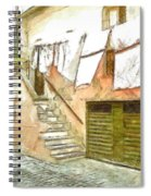 A Glimpse Of A House With Hanging Clothes Spiral Notebook