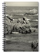 A Good Day Fishing On Monterey Bay In Black And White Spiral Notebook