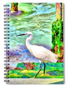 a heron is walking on a stair about the Grand Canal Spiral Notebook