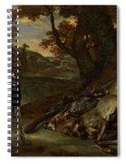 A Huntsman Cutting Up A Dead Deer, With Two Deerhounds Spiral Notebook