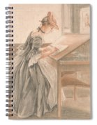 A Lady Copying At A Drawing Table Spiral Notebook