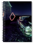 A Light Painted Scene Of A Rusty Caddy By A Barn And Cornfield Spiral Notebook