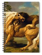 A Lion Attacking A Horse Spiral Notebook
