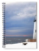 A Lonely Seagull Was Flying Over The Pemaquid Point Lighthouse Spiral Notebook