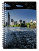 A Look At The Chicago Skyline From Under The Roosevelt Road Bridge  Spiral Notebook