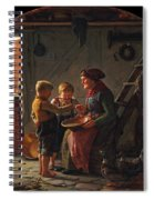 A Meal. Two Boys And A Grandmother Tasting The Potato Soup Spiral Notebook