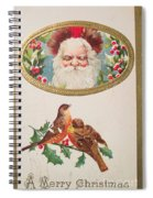 A Merry Christmas From Santa Claus Vintage Greeting Card With Robins Spiral Notebook