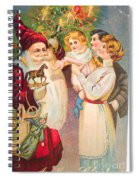 A Merry Christmas Vintage Card Santa And A Family Spiral Notebook