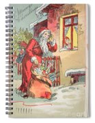 A Merry Christmas Vintage Greetings From Santa Claus And His Gifts Spiral Notebook
