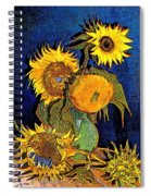 A Modern Look At Vincent's Vase With 5 Sunflowers Spiral Notebook