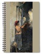 A Neapolitan Flax Spinner John William Waterhouse Spiral Notebook