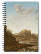 A Panoramic River Valley Landscape With Figures And Village Below Spiral Notebook