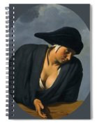 A Peasant Woman Wearing A Black Hat Leaning On A Wooden Ledge Spiral Notebook