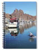 A Pelican Lands In The Old San Carlos Marina, Guaymas, Sonora, M Spiral Notebook
