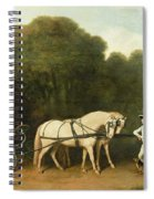 A Phaeton With A Pair Of Cream Ponies In The Charge Of A Stable-lad Spiral Notebook