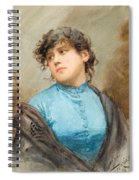 A Portrait Of A Young Woman In A Blue Dress Spiral Notebook