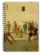 A Roman Street Scene With Musicians And A Performing Monkey Spiral Notebook