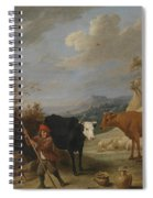 A Shepherd With His Flock In A Landscape With Ruins Spiral Notebook