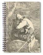 A Sleeping Warrior Seated On A Rock And Leaning On His Shield Spiral Notebook
