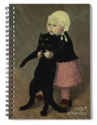 A Small Girl With A Cat Spiral Notebook