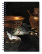 A Still Life Of Fish With Copper Pans And A Cat  Spiral Notebook