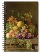 A Still Life Of Melons Grapes And Peaches On A Ledge Spiral Notebook