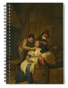A Tavern Interior With Two Peasants Making Advances On A Maid With Figures Making Music Beyond Spiral Notebook