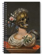A Vanitas Bust Of A Lady With A Crown Of Flowers On A Ledge Spiral Notebook