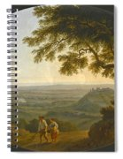 A View Across The Alban Hills With A Hilltop On The Right And The Sea In The Far Distance Spiral Notebook