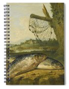 A View On The River Derwent At Belper Derbyshire With A Salmon And A Grayling On The Bank Spiral Notebook