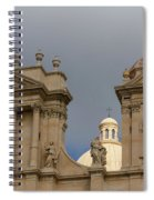 A Well Placed Ray Of Sunshine - Noto Cathedral Saint Nicholas Of Myra Against A Cloudy Sky Spiral Notebook
