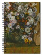 A Woman Seated Beside A Vase Of Flowers Spiral Notebook
